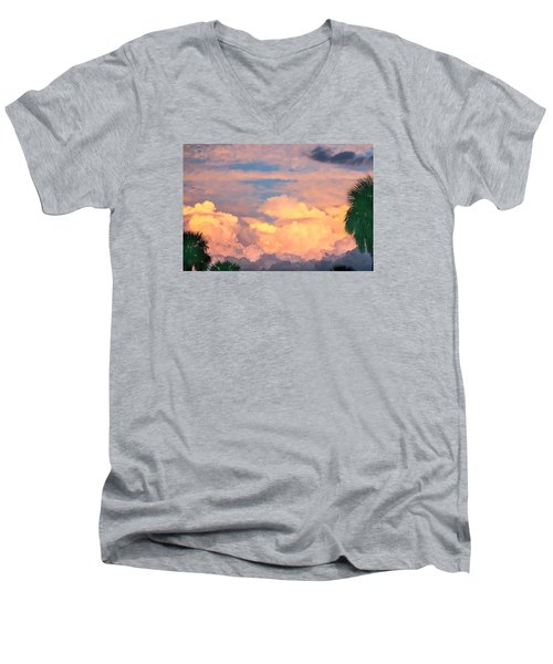 Ft De Soto Sunset Clouds Men's V-Neck T-Shirt