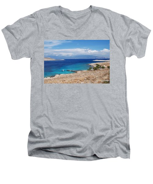 Ftenagia Beach On Halki Men's V-Neck T-Shirt
