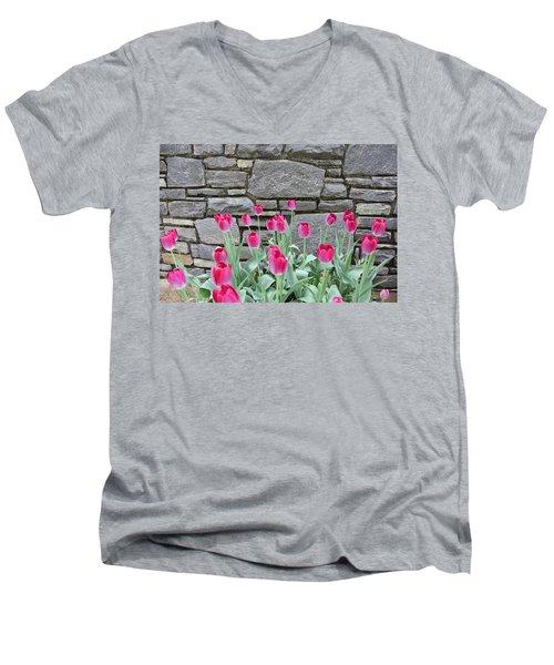 Fuchsia Color Tulips Men's V-Neck T-Shirt