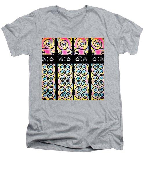 Fuchsia Gate  Men's V-Neck T-Shirt