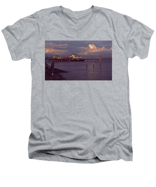 Men's V-Neck T-Shirt featuring the photograph Fuel Dock, Port Townsend by Laurie Stewart