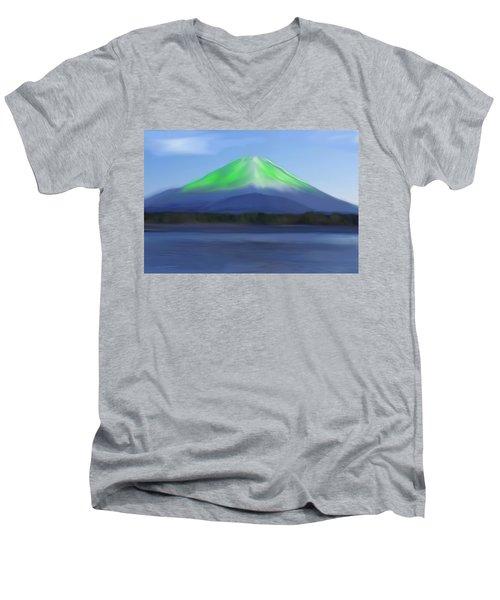 Fuji Men's V-Neck T-Shirt by Thomas M Pikolin