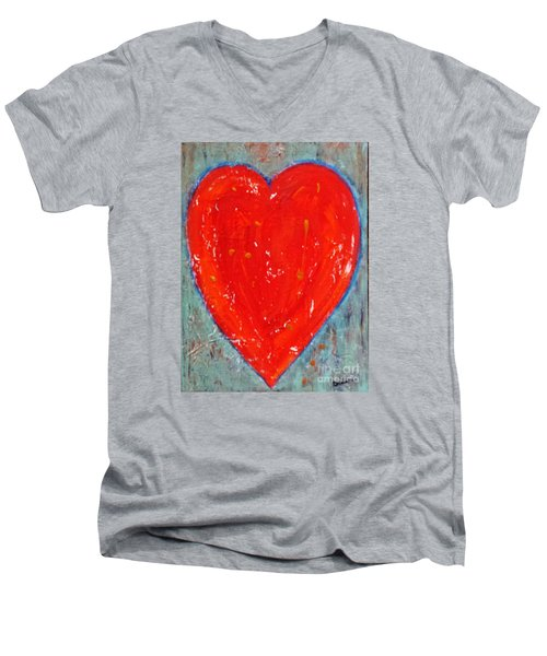 Men's V-Neck T-Shirt featuring the painting Full Heart by Diana Bursztein