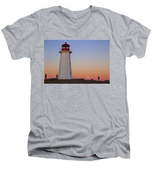 Full Moon At Peggy's Point Lighthouse, Nova Scotia Men's V-Neck T-Shirt