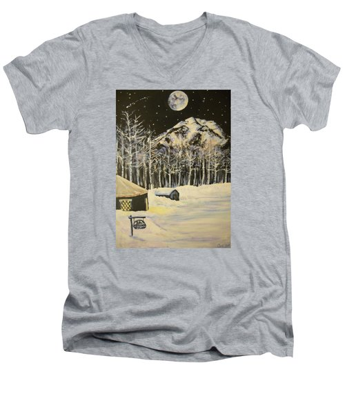 Full Moon At The Sundance Nordic Center Men's V-Neck T-Shirt