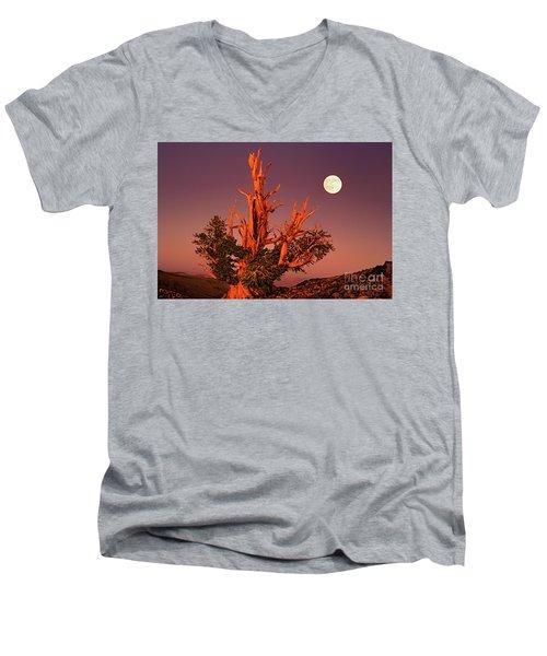 Full Moon Behind Ancient Bristlecone Pine White Mountains California Men's V-Neck T-Shirt
