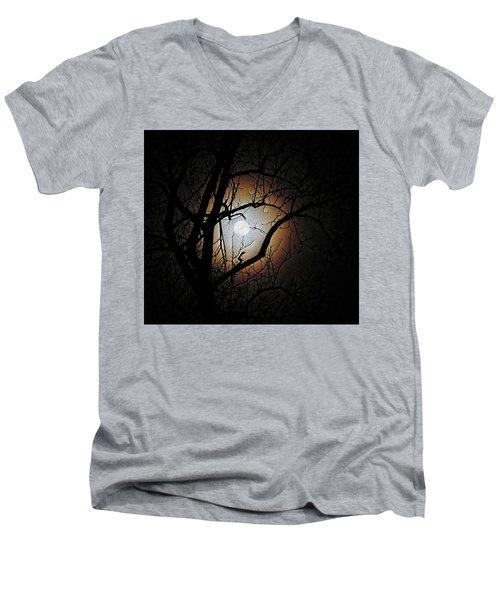 Full Moon Oil Painting Men's V-Neck T-Shirt