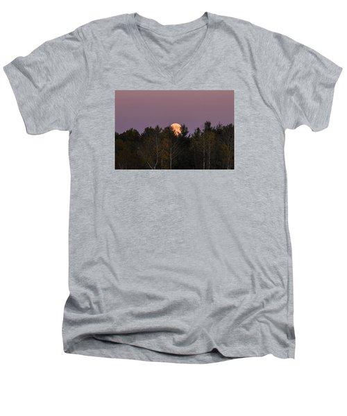 Full Moon Over Orchard Men's V-Neck T-Shirt