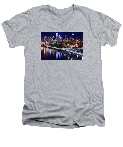 Full Moon Over Philly Men's V-Neck T-Shirt