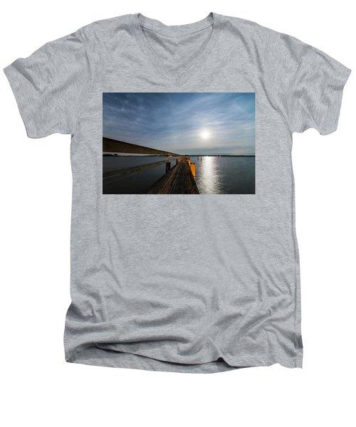 Men's V-Neck T-Shirt featuring the photograph Full Moon Pier by Kristopher Schoenleber