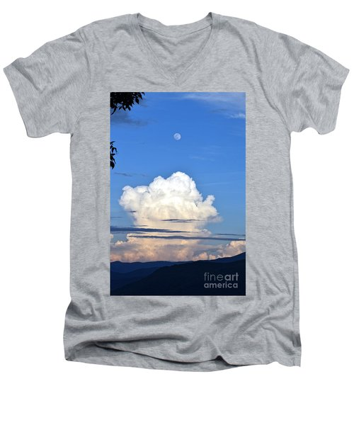 Full Moon Rising Over Blue Ridge Men's V-Neck T-Shirt by Gary Smith