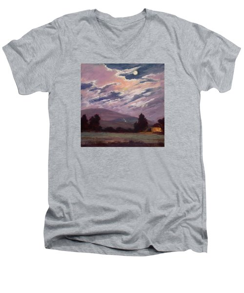 Full Moon With Clouds Men's V-Neck T-Shirt by Jane Thorpe
