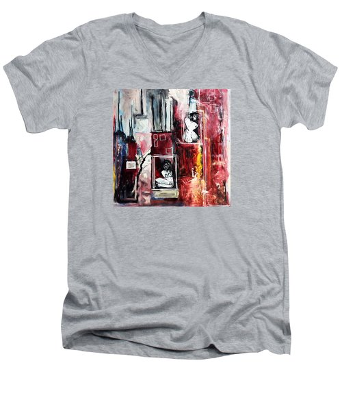Fully Self-contained Men's V-Neck T-Shirt by Helen Syron