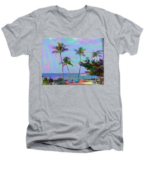 Fun At The Beach Men's V-Neck T-Shirt by Karen Nicholson