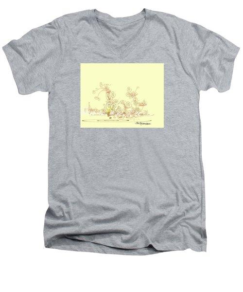 Men's V-Neck T-Shirt featuring the drawing Fun by Jim Hubbard