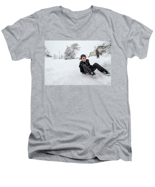 Fun On Snow-1 Men's V-Neck T-Shirt
