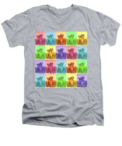 Fun Spring Bunnies Men's V-Neck T-Shirt