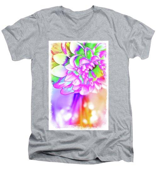 Funky Dahlia Men's V-Neck T-Shirt