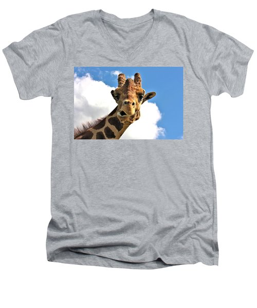 Funny Face Giraffe Men's V-Neck T-Shirt by Sheila Brown