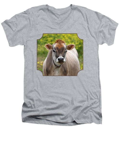 Funny Jersey Cow - Horizontal Men's V-Neck T-Shirt by Gill Billington