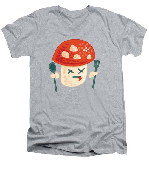Funny Poisoned Mushroom Character Men's V-Neck T-Shirt