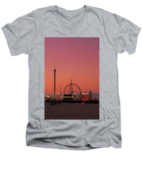 Funtown Pier At Sunset II - Jersey Shore Men's V-Neck T-Shirt