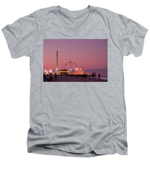 Funtown Pier At Sunset IIi - Jersey Shore Men's V-Neck T-Shirt