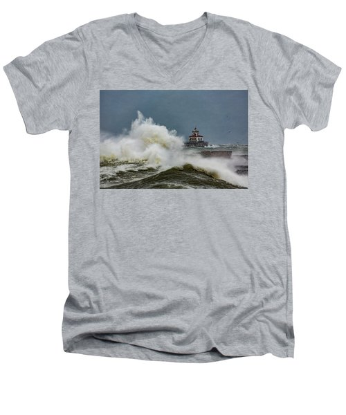Men's V-Neck T-Shirt featuring the photograph Fury On The Lake by Everet Regal