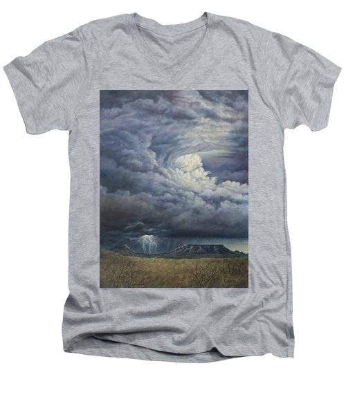 Men's V-Neck T-Shirt featuring the painting Fury Over Square Butte by Kim Lockman