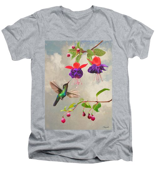 Fuchsia And Hummingbird Men's V-Neck T-Shirt