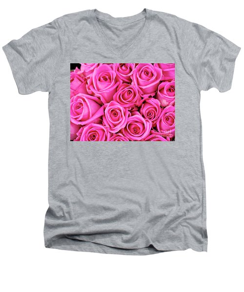 Fuschia Colored Roses Men's V-Neck T-Shirt