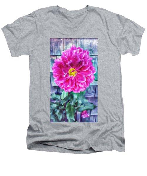 Fuschia Dahlia In Oil Men's V-Neck T-Shirt
