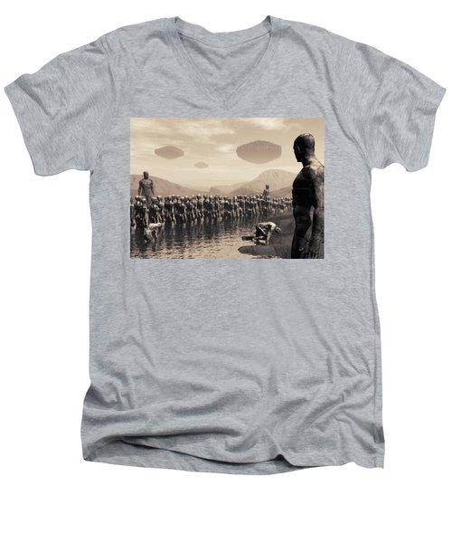Future Cattle Men's V-Neck T-Shirt by John Alexander