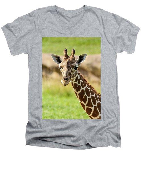 Men's V-Neck T-Shirt featuring the photograph G Is For Giraffe by John Haldane