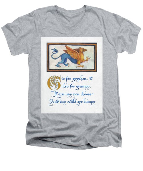 G Is For Gryphon Men's V-Neck T-Shirt