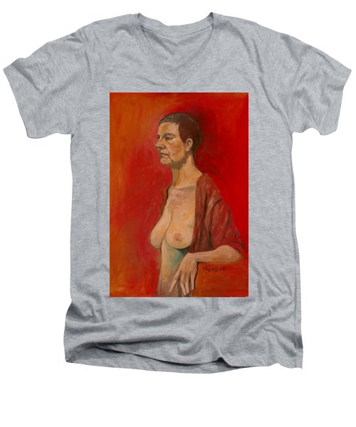 Men's V-Neck T-Shirt featuring the painting Gabrielle Standing by Ray Agius