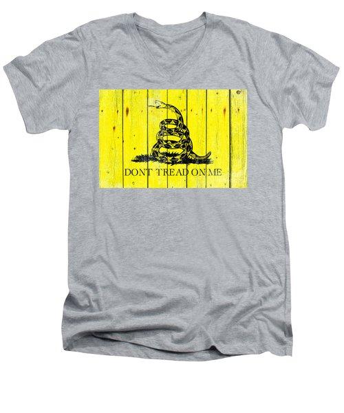 Gadsden Flag On Old Wood Planks Men's V-Neck T-Shirt by M L C
