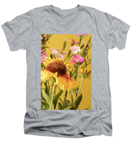 Gaillardia And Dianthus Men's V-Neck T-Shirt by Richard Rizzo