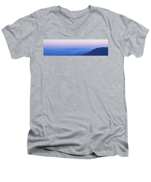 Galilee Mountains Sunset Men's V-Neck T-Shirt by Yoel Koskas