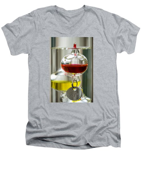 Men's V-Neck T-Shirt featuring the photograph Galileo Thermometer by Jeremy Lavender Photography