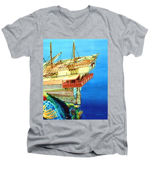 Galleon On The Reef 2 Filtered Men's V-Neck T-Shirt