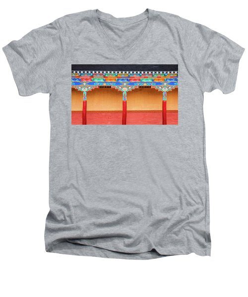 Men's V-Neck T-Shirt featuring the photograph Gallery In A Buddhist Monastery by Alexey Stiop