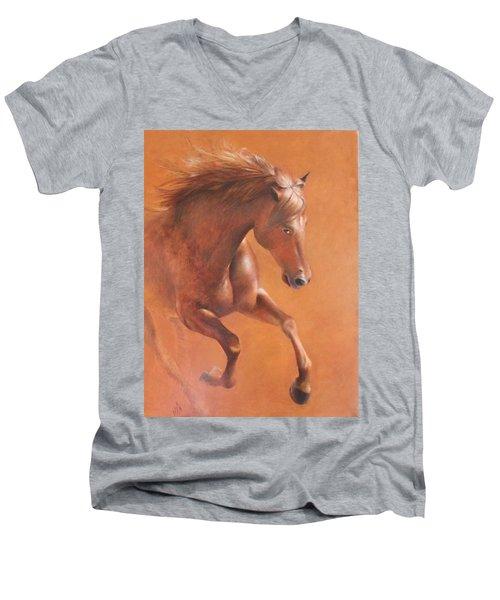 Gallop In The Desert Men's V-Neck T-Shirt by Vali Irina Ciobanu