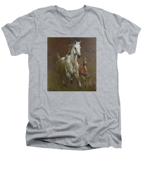 Gallop In The Eyelash Of The Morning Men's V-Neck T-Shirt by Vali Irina Ciobanu