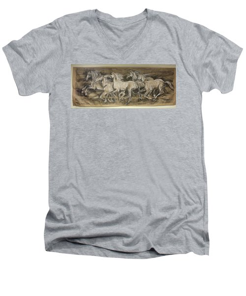 Men's V-Neck T-Shirt featuring the drawing Galloping Stallions by Debora Cardaci