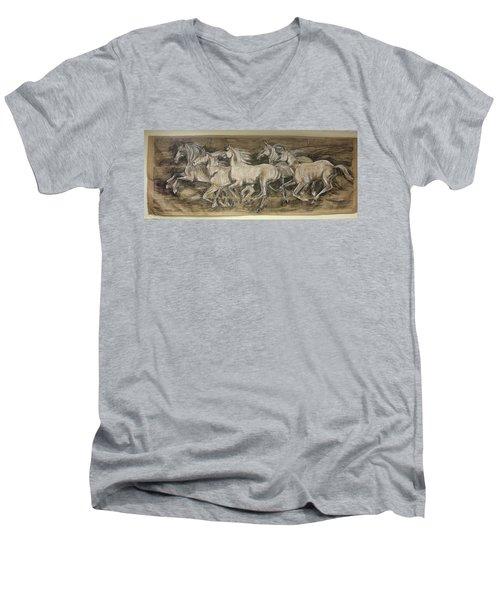 Galloping Stallions Men's V-Neck T-Shirt