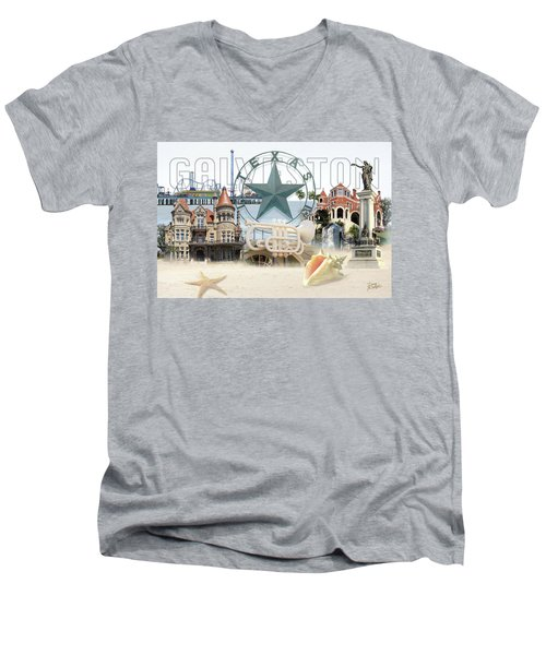 Galveston Texas Men's V-Neck T-Shirt by Doug Kreuger