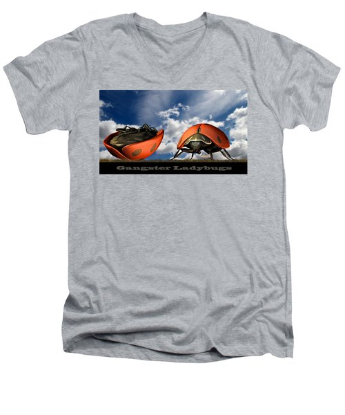 Gangster Ladybugs Nature Gone Mad Men's V-Neck T-Shirt by Bob Orsillo