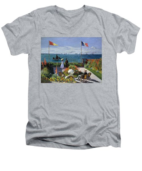 Garden At Sainte Adresse By Claude Monet Men's V-Neck T-Shirt