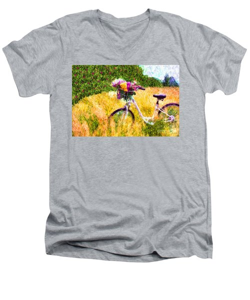 Garden Bicycle Print Men's V-Neck T-Shirt